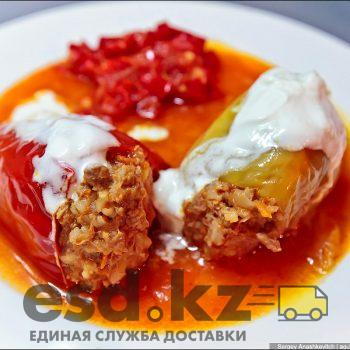 Stuffed peppers under two sauces,