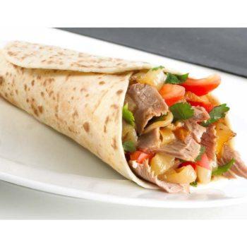 гиро греческий - 470тг пита, резаное мясо курицы, листик салата, картофель фри, соус дзадзыки, помидор